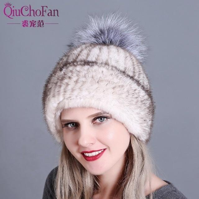 Eal mulheres gorro de pele chapéu de pele de vison chapéu feito malha para o inverno skullies gorros 100% Natural Genuine fur caps quentes de espessura