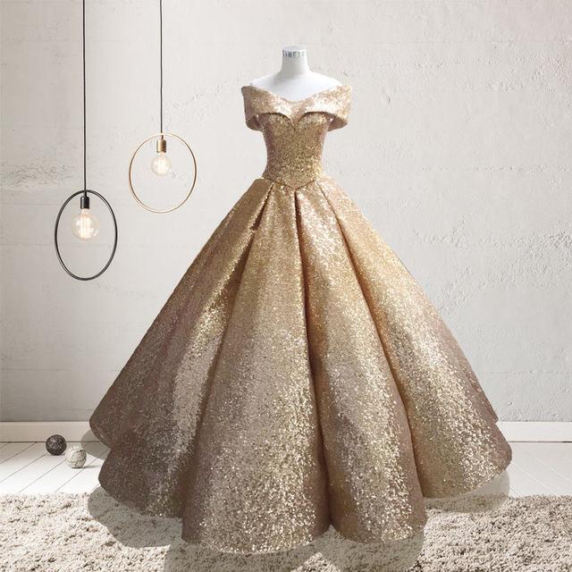 50575e12ff Es YiiYa en Stock oro brillo bola vestidos De boda corte soñando Bling piso  longitud Novia QCH001 las ventas de