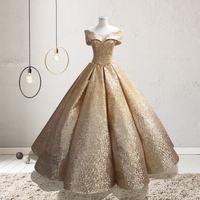 It's YiiYa In Stock Gold Glitter Ball Wedding Dresses Court Dreaming Bling Floor length De Novia QCH001 Clearance Sales
