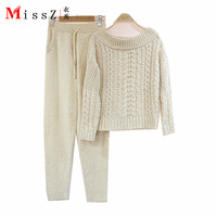 2017 Rushed Tracksuits European Twist Collar Sweater Hedging Pedicure Pants Two Piece Women Fashion Mink Cashmere Suits Of Sets