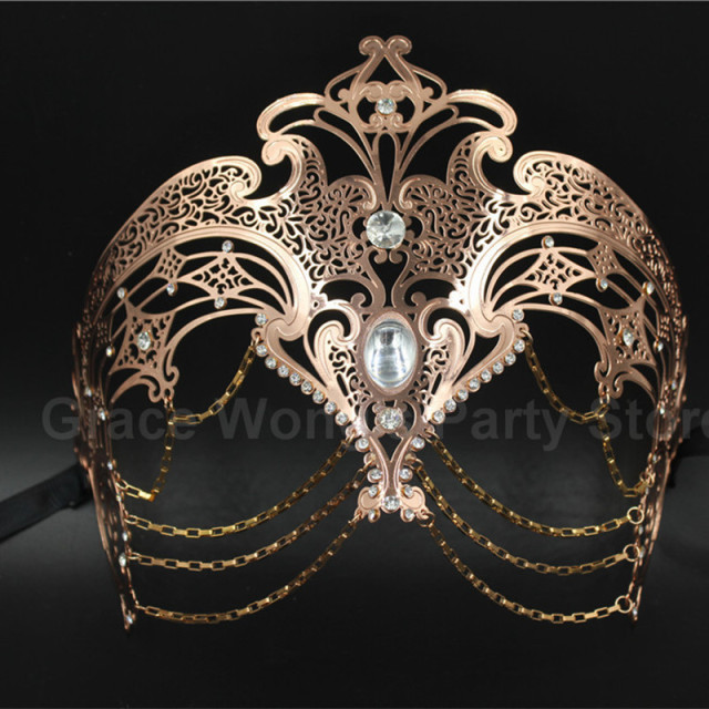 Luxury Gold&Rose Gold&Sliver  Laser Cut Venetian  Masquerade masks with Chain  Metal Eye Mask Christmas Mask With Rhinestones