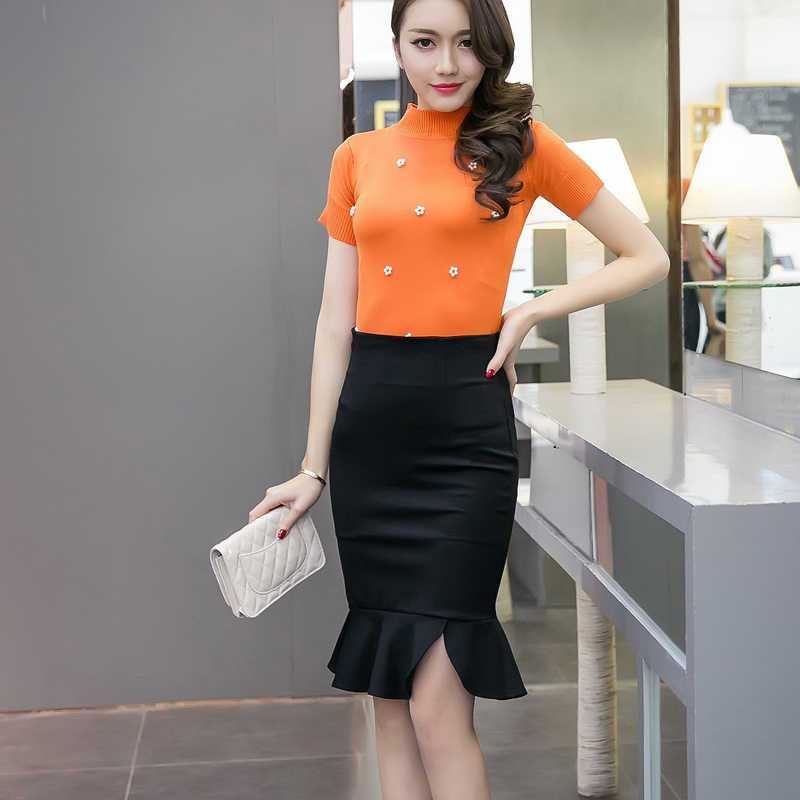 2018 women fashion Plus Size  cultivate one's morality show tall waist hip skirt splicing asymmetric bust fishtail skirt 159i 25