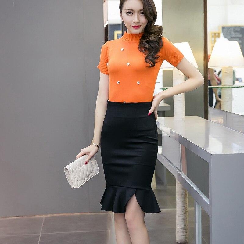 2018 Vrouwen Mode Plus Size Cultiveren Iemands Moraal Tonen Hoge Taille Heup Rok Splicing Asymmetrische Buste Fishtail Rok 159i 25 Een Plus Een Gratis