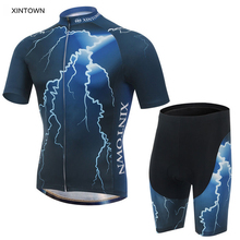 XINTOWN Mens Ropa Ciclismo Blue Lightning Bike Cycling Bicycle Outdoor Short Sleeve Shirt Wear Jersey Shorts Suits