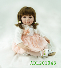 20 inch 50cm baby reborn  Silicone dolls Children's toys orange princess dress lovely girl