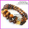 El envío gratuito! 10 unids Buena calidad Buda fe pulsera, Yoga Mala Pulsera, Ojo de tigre de piedra Pulsera de los hombres 8mm
