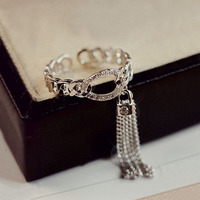 18K White Gold Plated Chain Open Ring CZ Diamond Ring Long Metal Chain Tassel And Lock