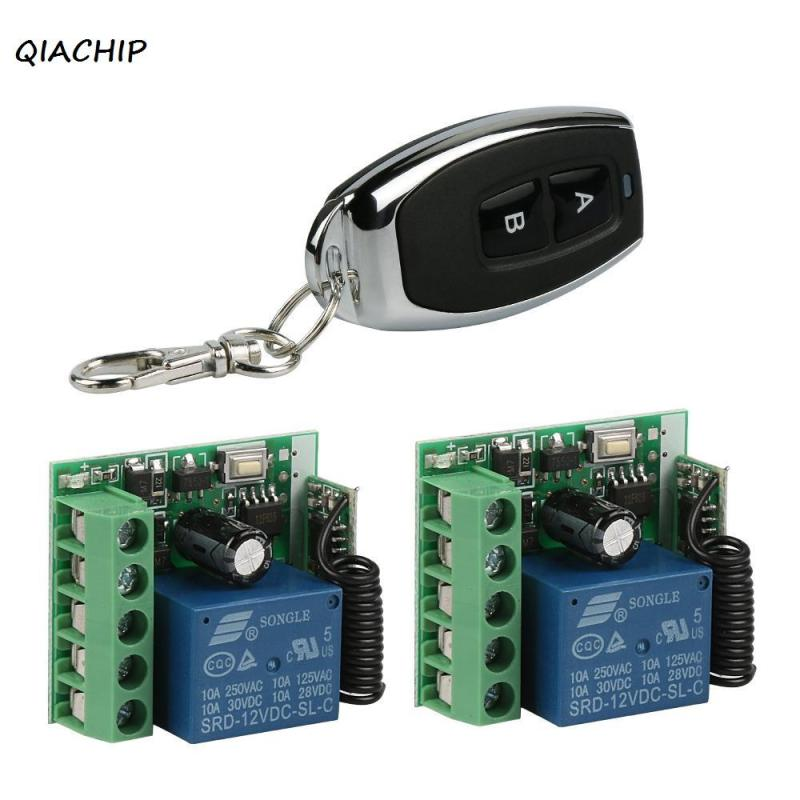 QIACHIP 433Mhz Wireless Remote Control light Switch DC 12V 1CH RF Relay Receiver Module with 433 Mhz 2CH Remote Control Diy H1 315 433mhz 12v 2ch remote control light on off switch 3transmitter 1receiver momentary toggle latched with relay indicator