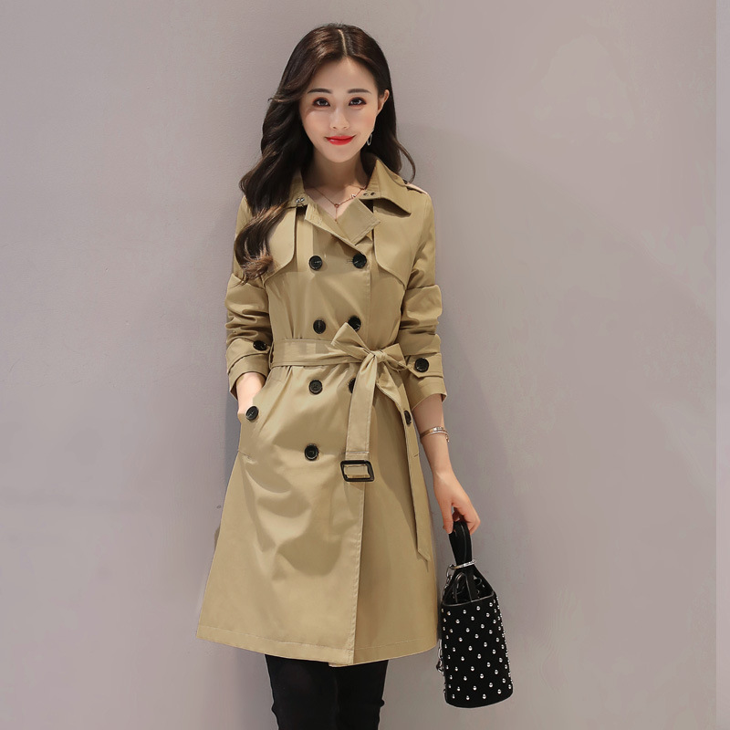 2019 New Spring Medium Long Women   Trench   Coat Double Breasted European Style Autumn Ladies Overcoat with Belt Plus Size G599