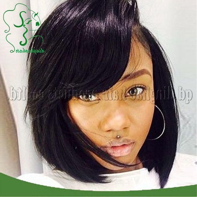 Cute Bob Lace Front Wigs with Bangs For Black Women Brazilian Human Hair Bob  Wigs Glueless Full Lace Wig Free Shipping 3384f908e