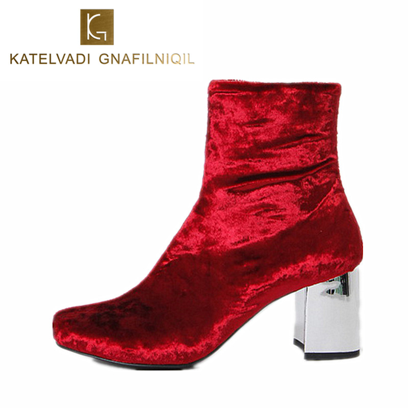 Red Velvet Winter Boots Women Round Toe Retro Ankle Boots For Women With Fur Designer 6CM High Heels Winter Boots Booties K-054