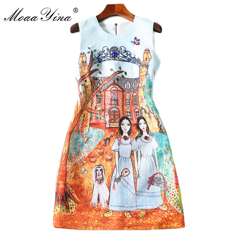 MoaaYina 2018 Fashion Designer Runway Dress Summer Women Sleeveless Jacquard Print Cartoon Character Beaded Diamond Casual Dress