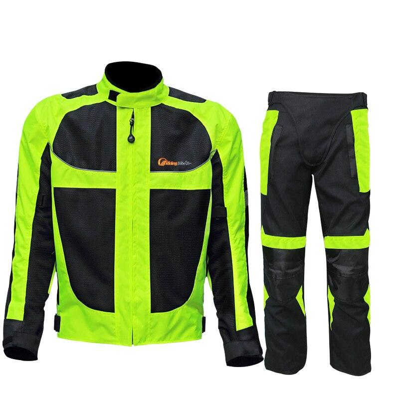 Équitation Tribu D'été/d'hiver Moto Respirant Maille de Moto De Protection Veste Hommes Réfléchissant Racing Moto Vestes Pantalons en Jersey