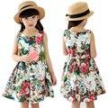 Vestido de la muchacha Floral de Algodón Nuevo Estilo 2016 de La Moda de Verano Vestido de Princesa Ropa de los cabritos de Los Niños Vestidos de Fiesta Para Niñas Tamaño 2 T-14