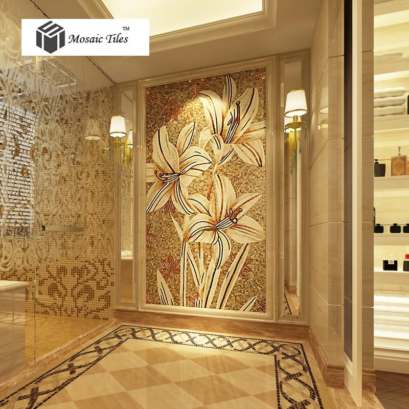 TST picture parquet mosaic Bisazza jade greenish lily flower mosaic ...