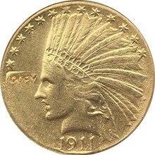 24-K позолоченная 1911$10 Золотая индийская половина монета с изображением орла КОПИЯ