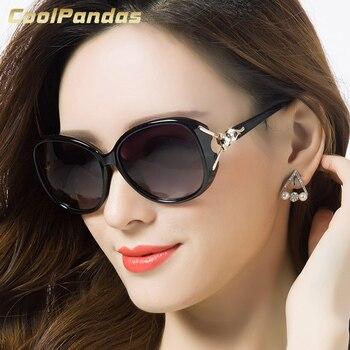 2019 新ファッション特大のキツネのフレーム偏光サングラスの女性のブランドデザイナードライビングサングラス UV400 女性ギフト Oculos デゾル