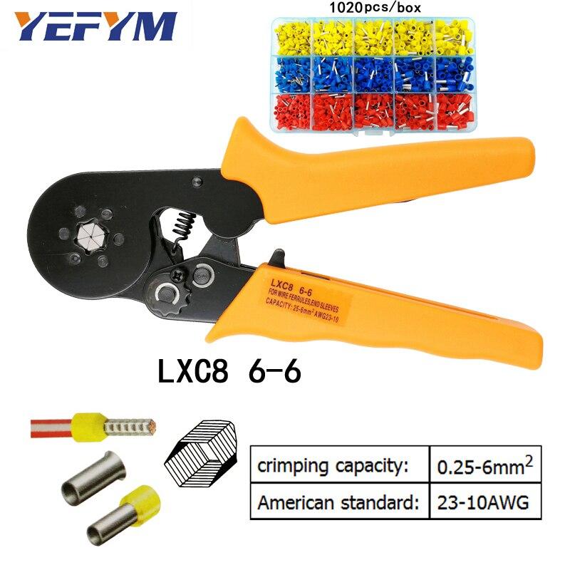 Werkzeuge Yefym Lxc8 6-6 0,25-6 Mm2 23-10 Awg Crimpen Zangen Mit 1020 Stücke Rohr Typ Nadel Typ Terminal Crimp Hexagon Mini Werkzeuge PüNktliches Timing