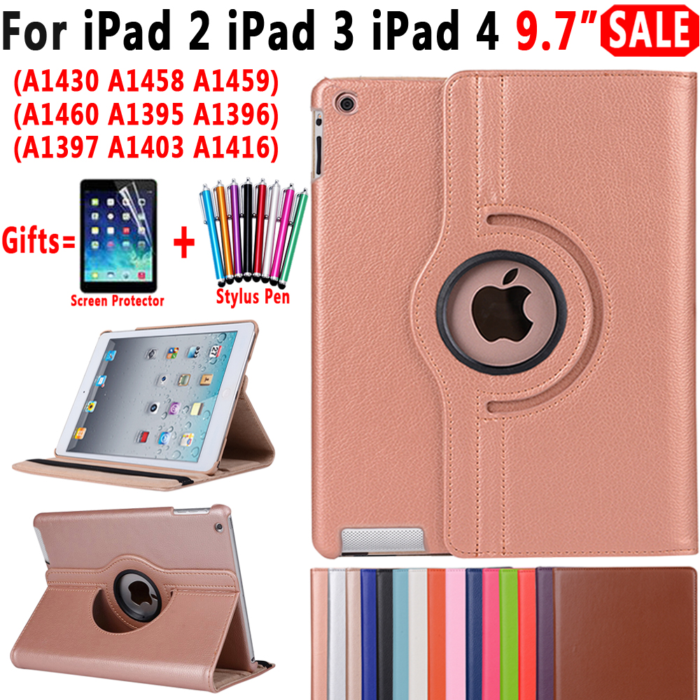 все цены на 360 Degree Rotating Leather Smart Auto Sleep Awake Stand Case Cover for Apple iPad 2 3 4 9.7 inch Coque Capa Funda + Film + Pen
