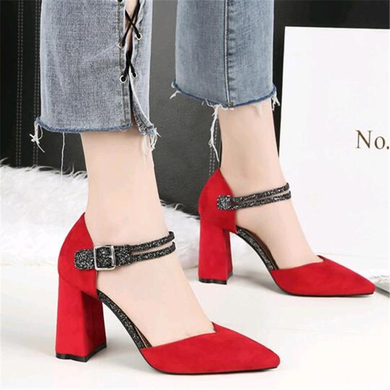 Beige Vino Zapatos Alto Boda Del Fiesta Bombas Moda Tacón Mujeres  Puntiagudo Rojo Mujer rojo gris Super De Dedo Cuadrada Pie Damas 2019 negro  ... d74c6202924