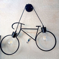 Nordic creative personality restaurant bar table children room aisle bicycle wall lamp