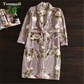 Sleepwear Robe For Women Winter Flannel Warm Sleep Gowns Coral Fleece Robes Long Nightgown