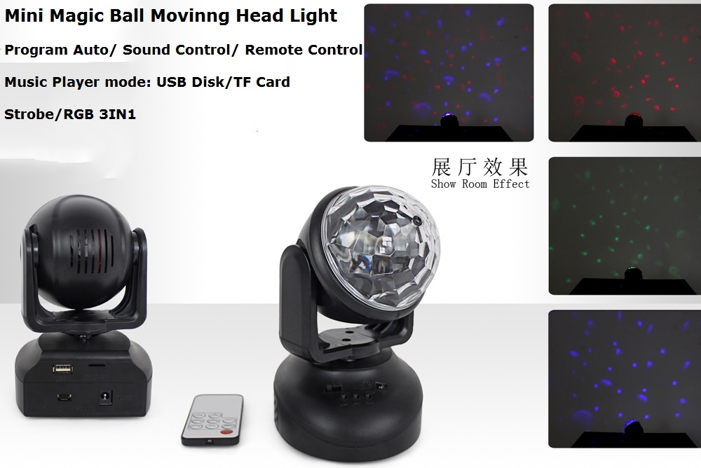 2Pcs/Lot LED Moving Head Lights Portable New 3X3W RGB Full Color Magic Ball Moving Head Stage Lights With Remote Control