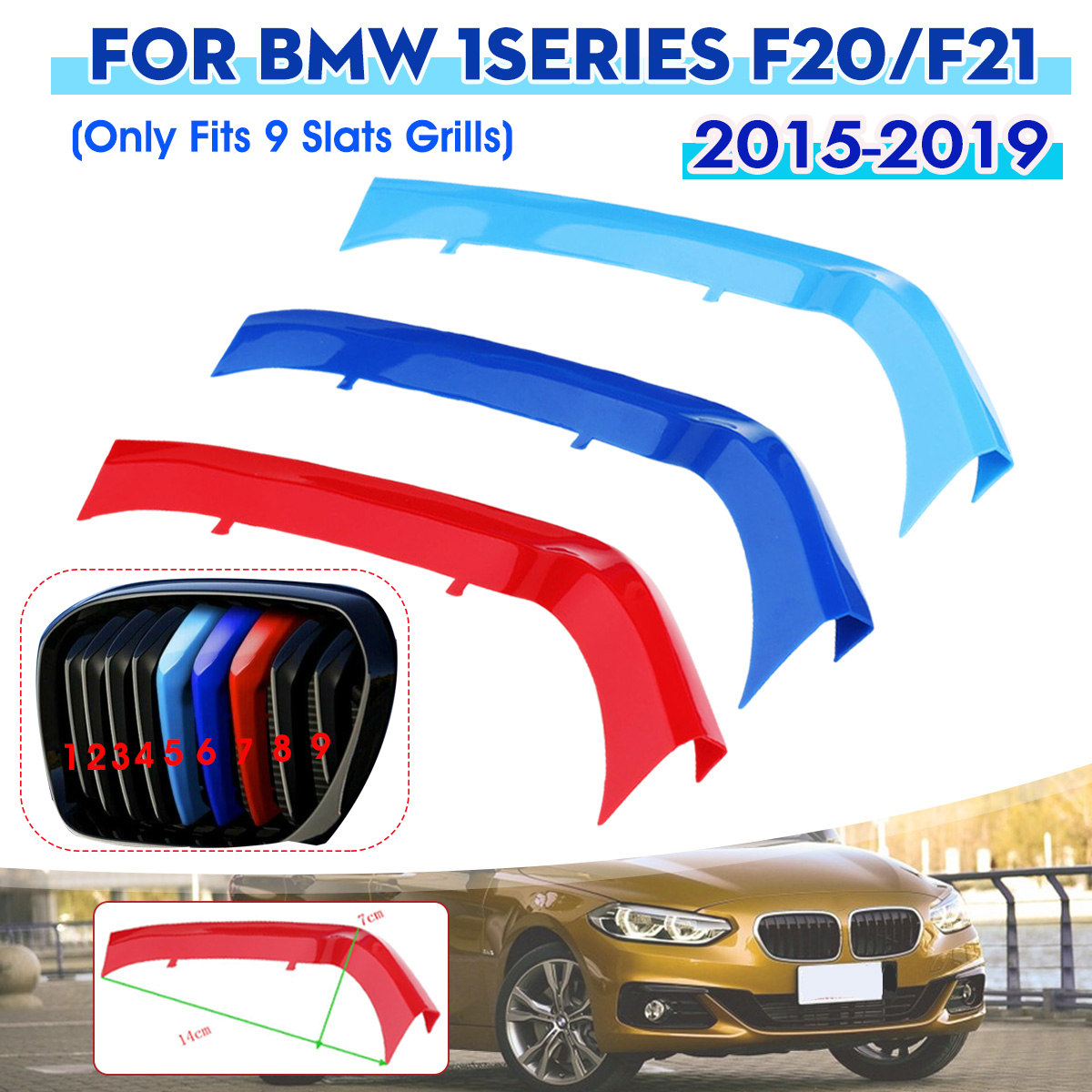 3pcs For BMW 1-Series F20/F21 2015 2016 2017 2018 9 Bar Car Front Grille Trim Sport Strips Cover Stickers Accessories
