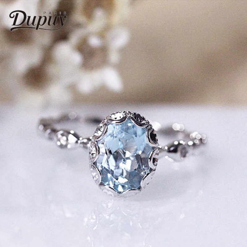 DUPUY Engagement Rings 6*8mm 1.4ct Oval Cutting High-End Blue Aquamarine Ring Elegant Exquisite Diamond Wedding Ring D180071