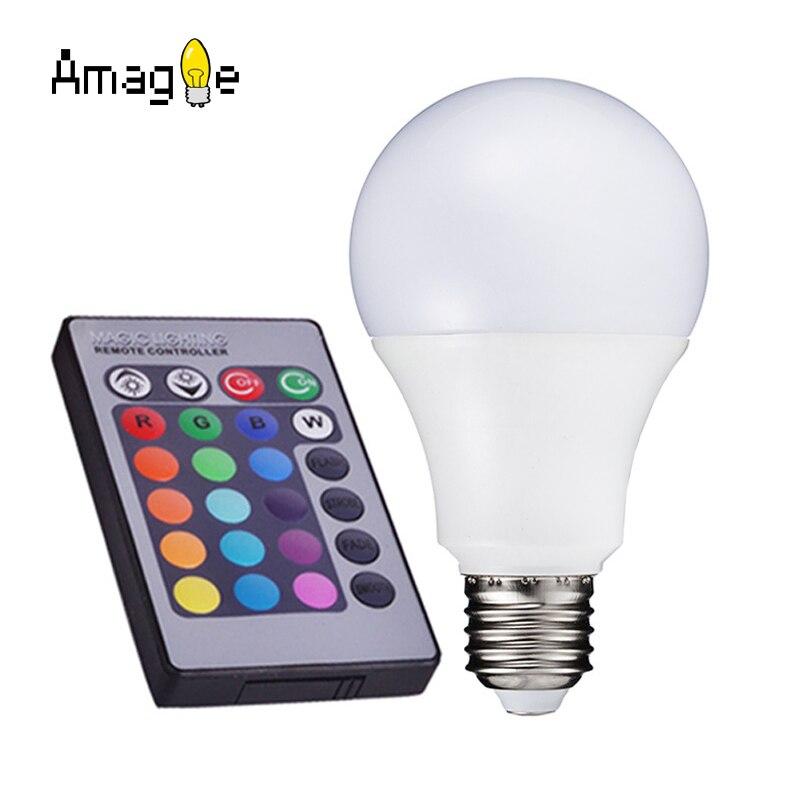 E27 RGB LED Lamp 16 Colors Changing Led Light Bulb 85-265V 110V 220V LED Spotlight Spot Light + IR Remote Control 3W 10W