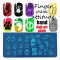 Lady Finger 1 Шт. 12 х 6 см Различные Смешанные Palm Дизайн Ногтей Штамповки Пластины DIY Изображения Прямоугольник Шаблонов Трафареты инструменты QJ-L32