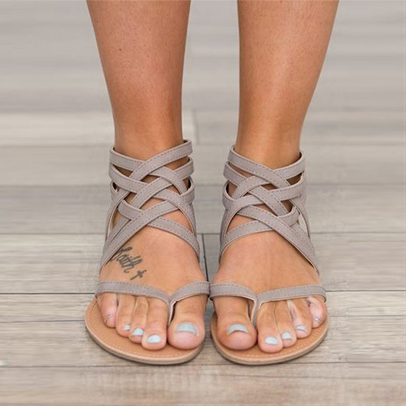 Women Sandals Summer Rome Style Flats Sandals Shoes Woman Zip Casual Shoes Gladiator Sandalias Mujer Plus Size 34-43 Flip Flops instantarts women flats emoji face smile pattern summer air mesh beach flat shoes for youth girls mujer casual light sneakers