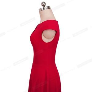 Image 3 - נחמד לנצח בציר מוצק צבע אלגנטי שמלות חג המולד עם כובע שרוול אונליין Pinup נשים התלקחות נדנדה שמלת A067
