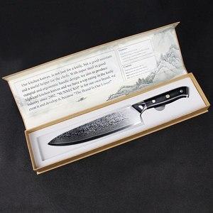 Image 5 - Sunnecko 7 pçs faca de cozinha conjunto chef pão santoku utilitário aparas facas 73 layer damasco vg10 aço afiada balde ferramentas de corte