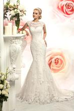 New Arrival Top Quality Mermaid Scoop Neck Lace Wedding Dresses 2016 Custom made Appliques Vestido De Noiva Robe Mariage
