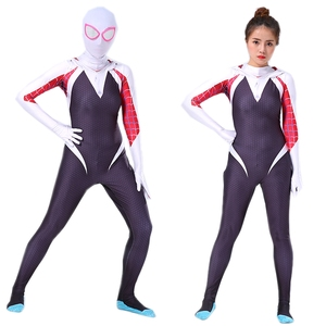 Image 2 - Spider Gwen Costume Stacy Cosplay Hoodie Mask Zentai Into the Spider Verse Adult Kids Bodysuit Skin Suit Halloween Cosplay