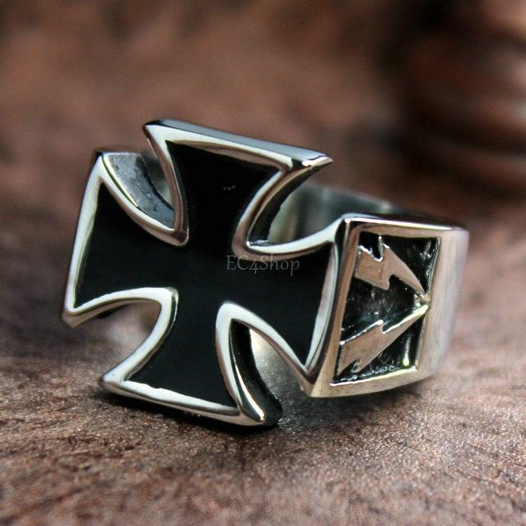 Stainless Steel 2 Color Pattee Cross Biker Ring