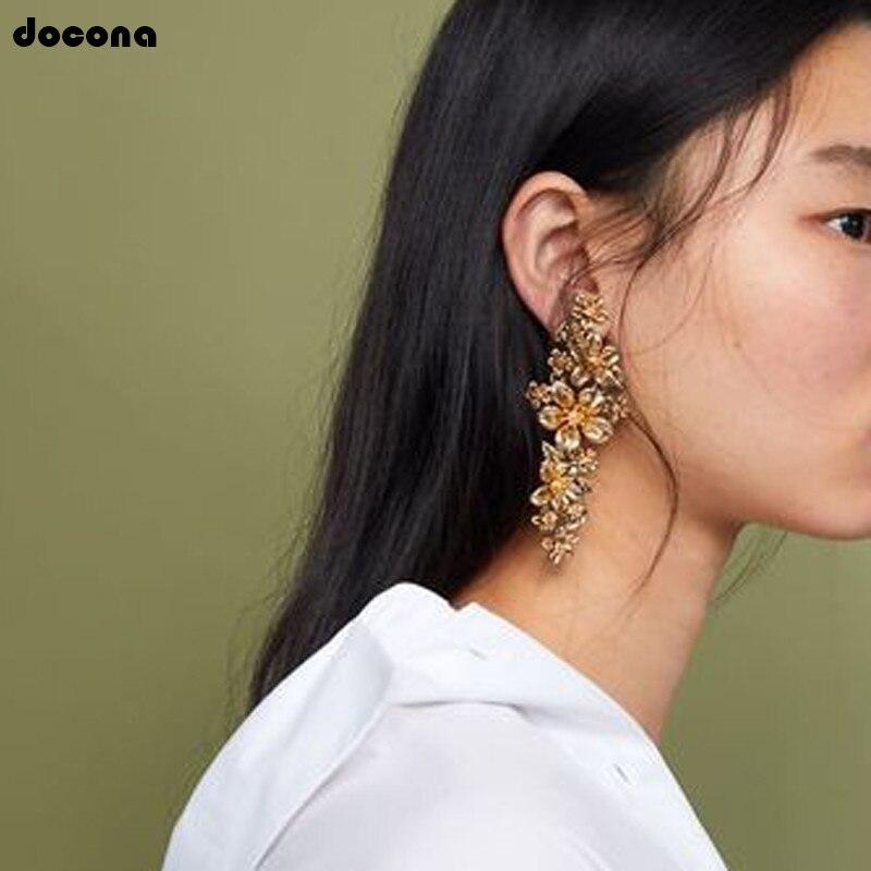Docona Elegant Fireworks Pearl Flower Studs Earrings For Women Girl Metal Floral Stud Earring Statement Jewelry Brincos 3494 Earrings Jewelry & Accessories