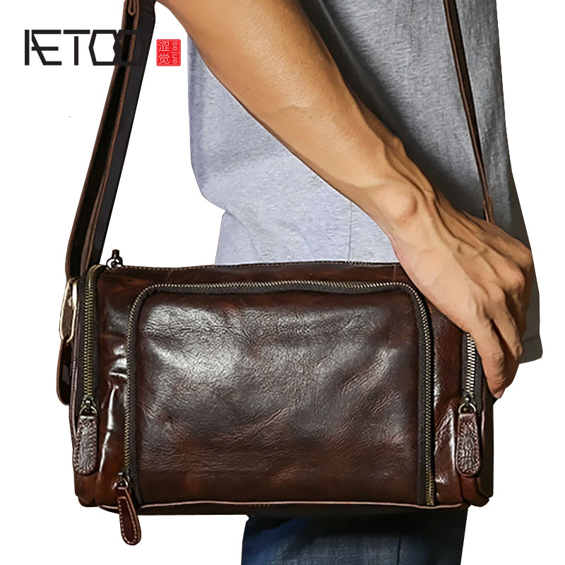 AETOO The new of the first layer of crazy horse skin retro style men original shoulder bag Messenger bag genuine leather bag men s leather oblique cross chest packs of the first layer of leather deer pattern men s shoulder bag korean fashion men s bag