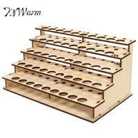 KiWarm Top Quality 43 Pots Wooden Acrylic Color Paints Bottle Storage Rack Holder Modular Organizer For