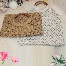 Manual Rattan Cotton Rope Hollow Straw Woven Handbag Without Lining Storage Bag Fashion Womens Shopping Shoulder Bags