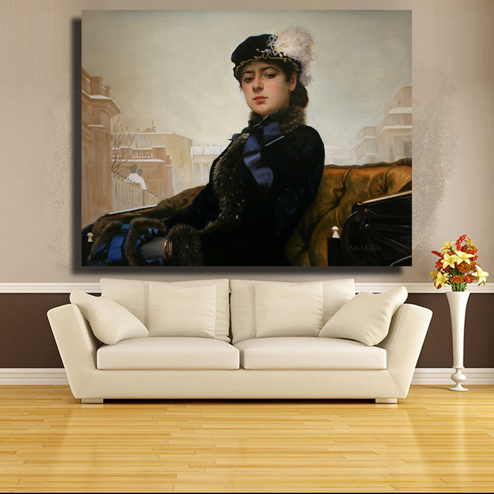 Scarface money power respect vinyl wall decal for home decore - Hdartisan Kramskoi Works A Portrait Of A Proud And Self Respecting Unknown Girl 1883 Oil Painting On Canvas Wall Art Home Deco