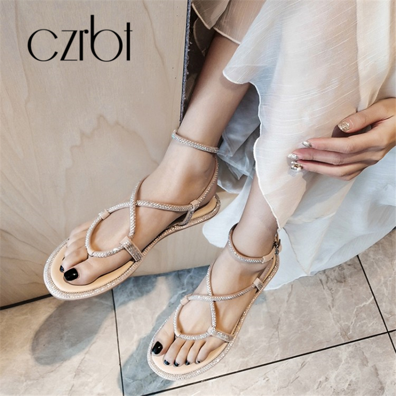 CZRBT 2019 Trendy Kralen Decoratieve Sexy Lederen Dames Sandalen handgemaakte Non slip Comfortabele Koele Platte hakken dames Sandalen - 3