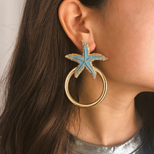 Fashion womens jewelry  Simple Geometry Ethnic Wind Earrings Individual Starfish Oil Painting Circle Temperament