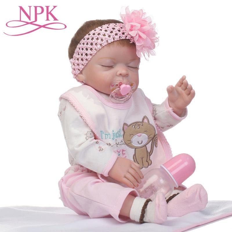Christmas Gifts 50CM Newborn Bebe Doll Reborn Baby Girl Doll In Skin Full Body Silicone Bath Toy Lol Dolls Xmas Gfit Baby Girls