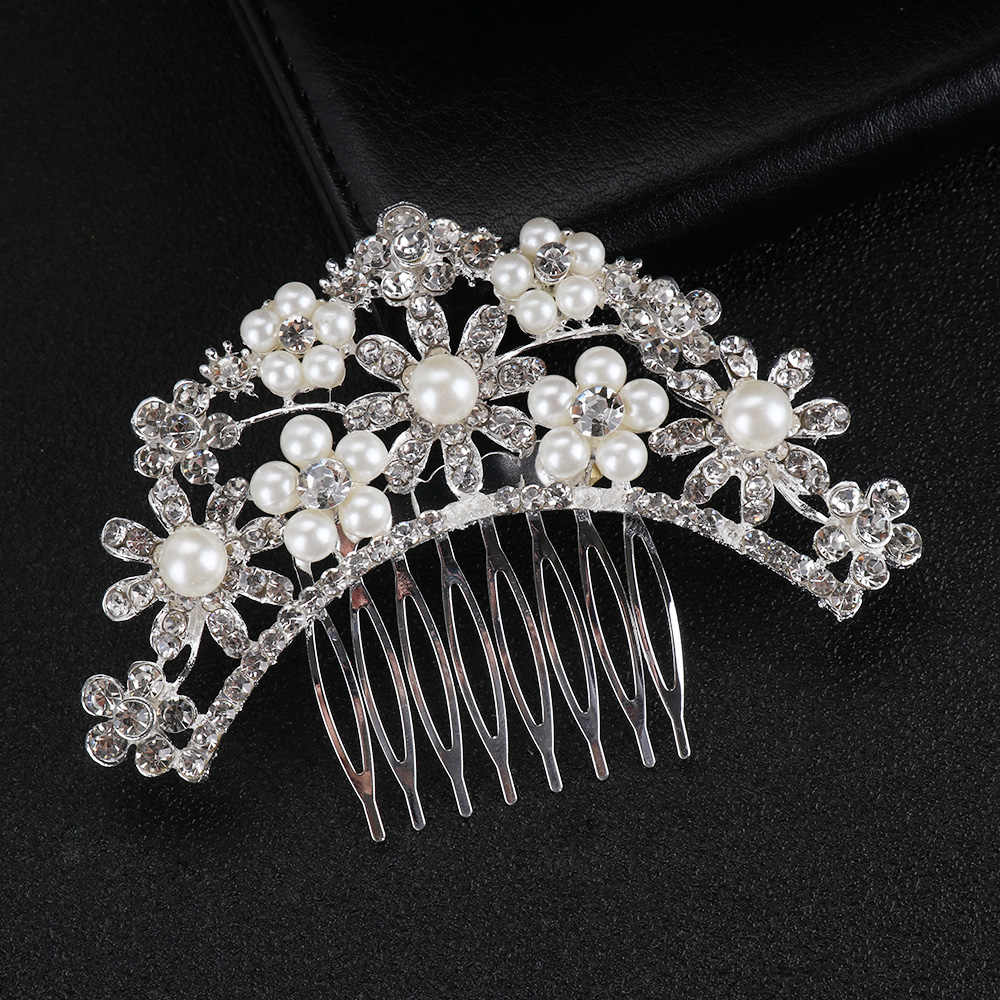 ウェディングブライダル髪のくしクリップ葉真珠のヘアピンかぶと女性クリスタルの装飾品の宝石花嫁介添人ヘアアクセサリー