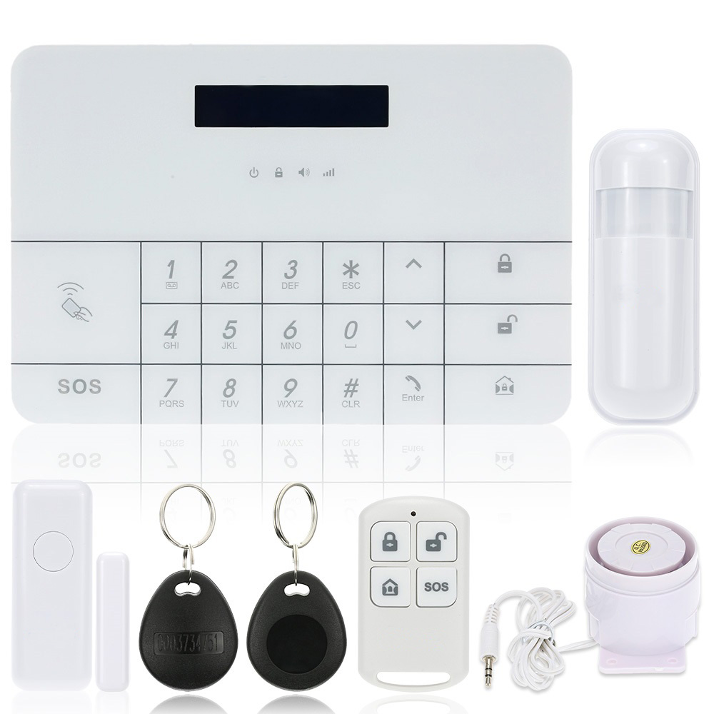 Wireless GSM Alarm System with Monitoring & Intercom by SMS & Free APP & Matrix LCD Display & Digital Touch Keyboard & RFID Tag 2016 rain proof gsm taxi freephone gsm help point handsfree intercom