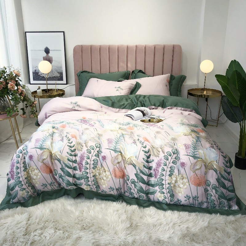 Floral Percal Satin bed linen sheets Tencel Silk Soft bedding sets duvet cover flower print newest