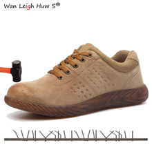 купить Men Steel Toe Cap Boots Genuine Leather Breathable Labor Insurance Beef Tendon Puncture Proof Casual Boot Mens Safety Work Shoes дешево