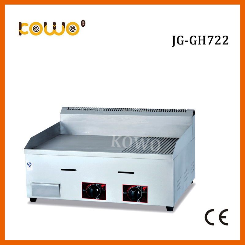 commercial lpg gas 1/2 Flat and 1/2 Grooved grill griddle desktop grill steak machine for restaurant kitchen